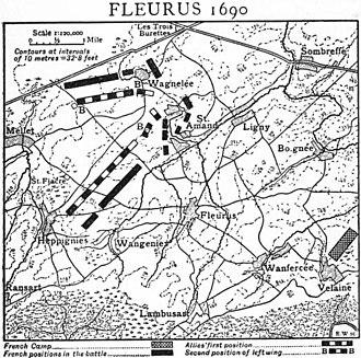 Battle of Fleurus (1690) - Battle of Fleurus 1690, from 1911 Encyclopædia Britannica,