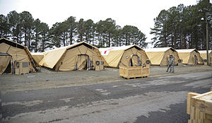 Expeditionary Medical Support System - A new EMEDS tent structure being tested at Langley AFB in 2014
