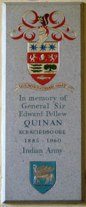 Edward Quinan - Memorial plaque in Barrington Church for General Sir Edward Quinan