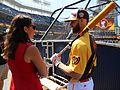 ESPN's Jessica Mendoza chats with Bryce Harper on Gatorade All-Star Workout Day. (28377246160).jpg