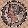 East India Company, Half Cent, 1845, Queen Victoria - obverse.jpg