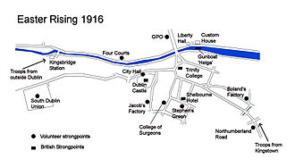 Easter Rising - Positions of rebel and British forces in central Dublin