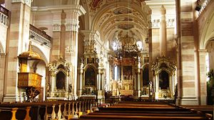 Church of Saint Maurice (Ebersmunster) - Inside the church, looking East