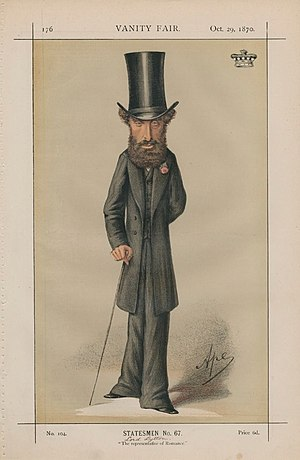 Edward Bulwer-Lytton - Caricature by Ape published in Vanity Fair in 1870