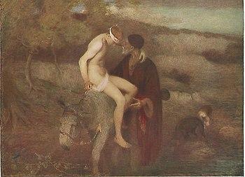 Edward Stott Buen Samaritano (1910) 81,6 x 106 cm, Galería de Arte Ferrens, Hull.jpg