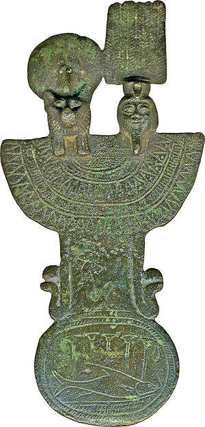 Tefnut - A menat (a musical instrument similar to the sistrum) depicting the goddess Tefnut and her husband-brother Shu.