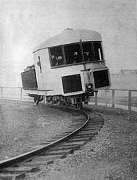 Gyroscopically balanced monorail (1907) by Brennan and Scherl
