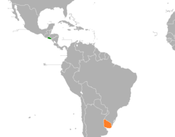 Map indicating locations of El Salvador and Uruguay