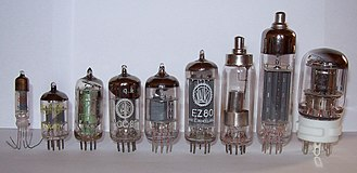Vacuum tube - Later thermionic vacuum tubes, mostly miniature style, some with top cap anode connections for higher voltages