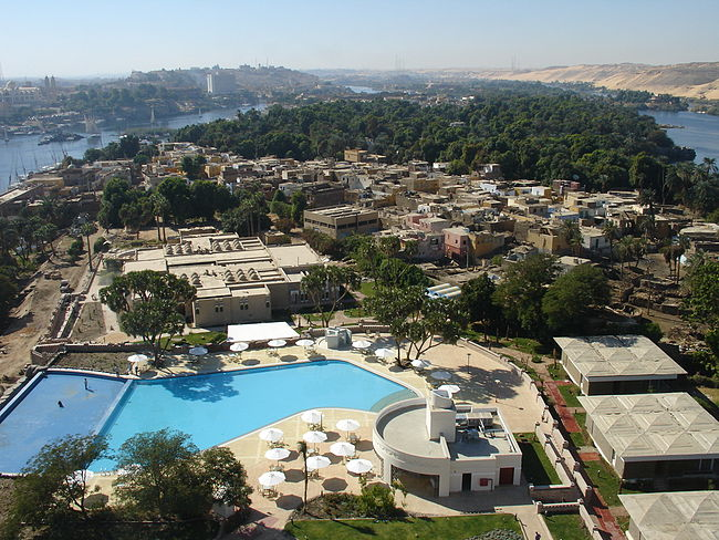 View south (upstream) of Elephantine Island and Nile, from a hotel tower. Elephantine by Zureks.jpg