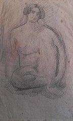 Nu feminino sentado - verso da obra D390
