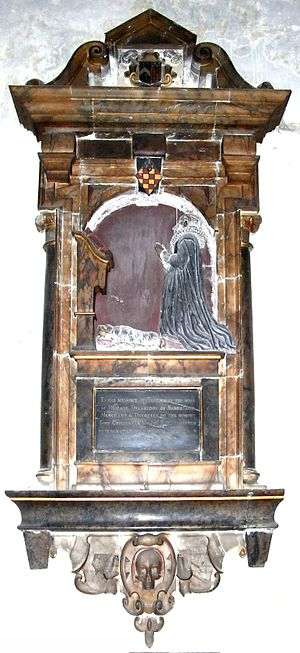 John Delbridge - Mural monument to Elizabeth Chichester (d.1628), a daughter of John II Chichester (d.1608) of Hall, Bishop's Tawton and wife of Richard Delbridge. St Peter's Church, Barnstaple