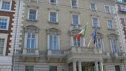 Photograph of the front of the Italian Embassy, London