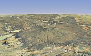 Tibesti Mountains - Computer-generated image of Emi Koussi from south, highlighting its form of shield volcano topped by a large crater and extended to the north by Tarso Ahon