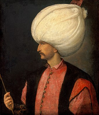 Suleiman the Magnificent in 1530, by Titian. EmperorSuleiman.jpg