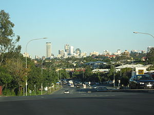 Enoggera, Queensland - Enoggera Road, with view of Brisbane CBD.