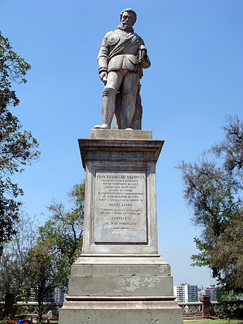 Estatua de Pedro de Valdivia en Cerro Santa Luc%C3%ADa