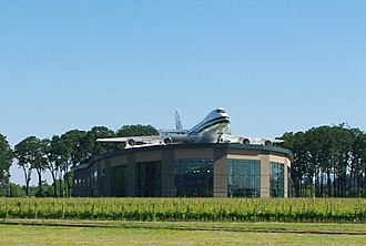 Evergreen Aviation & Space Museum - Exterior of the waterpark, showing the mounted Boeing 747-100