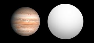 HAT-P-1b - Size comparison of HAT-P-1b with Jupiter.