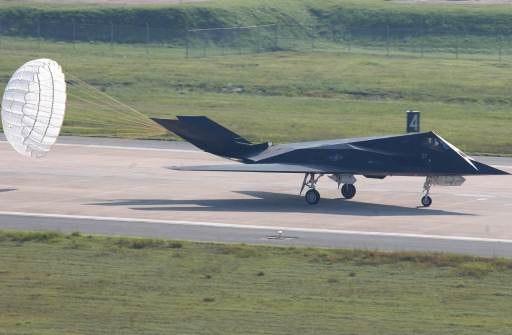 F-117 lands