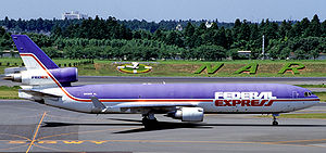 FedEx Express - A McDonnell Douglas MD-11 pictured in 1995, wearing the old Federal Express livery which was used until 1994