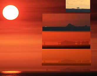 Mirage - Various kinds of mirages in one location taken over the course of six minutes, not shown in temporal order. The uppermost inset frame shows an inferior mirage of the Farallon Islands. The second inset frame is the Farallon Islands with a green flash on the left-hand side. The two lower frames and the main frame all show superior mirages of the Farallon Islands. In these three frames, the superior mirages evolve from a 3-image mirage (an inverted image between two erect ones) to a 5-image mirage, and then back to a 2-image mirage. Such a display is consistent with a Fata Morgana. All frames but the upper one were photographed from about 50–70 feet above sea level. The upper frame was photographed from sea level.