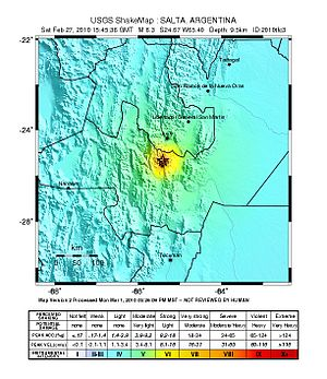 2010 Salta earthquake - Image: February 2010 Salta earthquake intensity USGS