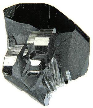 Nor Chichas Province - Ferberite on matrix with gemmy quartz, Tazna Mine, Atocha-Quechisla District, Nor Chichas Province.