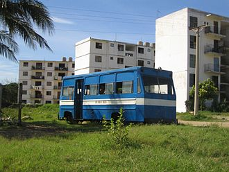 Transport in Cuba - Ferro Bus in Levisa near Mayarí in Holguín Province