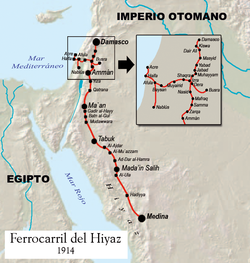 Map of the Hejaz railway.