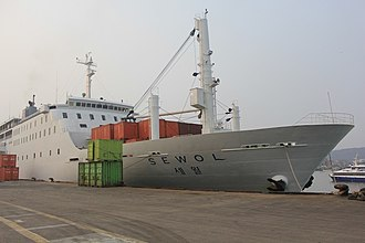 Sinking of MV Sewol - Sewol at a port in Incheon on March 2014, after modifications had been made