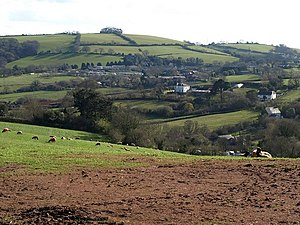 Blagdon, Paignton - Field above Blagdon, looking towards the manor house, now surrounded by a caravan park