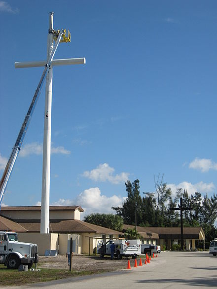 This 100-foot (30 m) tall cross conceals equipment for T-Mobile at Epiphany Lutheran Church in Lake Worth, Florida, US. Completed in December 2009. Finishing cross view.JPG