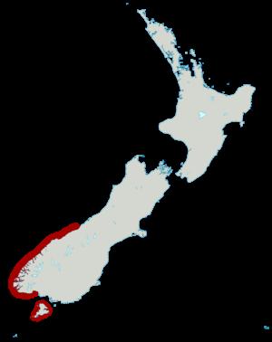 Fiordland penguin - Image: Fiordland Penguin distribution map