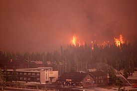 Fires approach the Old Faithful Complex on September 7, 1988.