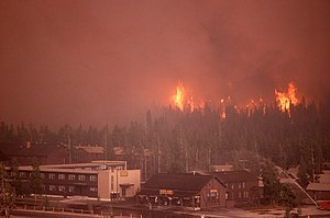 Yellowstone fires of 1988 - Fires approach the Old Faithful Complex on September 7, 1988.
