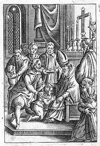 Confirmation - German wood cut depicting Confirmation service (1679).