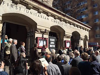 First Unitarian Church of Philadelphia - Led by interim minister Rev. Dr. Susan V. Rak, the First Unitarian Church of Philadelphia dedicates its new Black Lives Matter banner on February 28, 2016. Photograph by Michael Johnson.