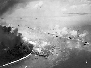 Battle of Peleliu - The first wave of U.S. Marines in LVTs during the invasion of Peleliu on September 15, 1944