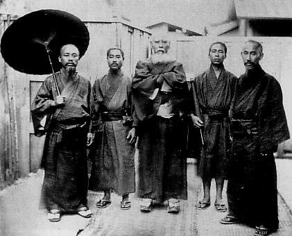 Five men wearing Ryukyuan Dress