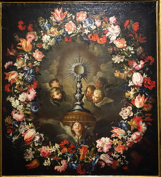 547px-Flower_Garland_with_Monstrance,_probably_by_Stefano_Camogli,_c._1670-1680,_oil_on_canvas_-_Museo_Diocesano_(Genoa)_-_DSC01682.JPG (547×600)