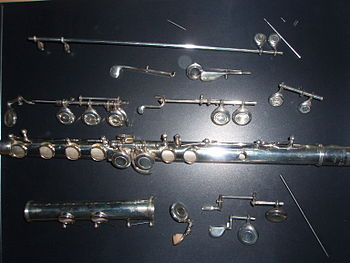 English: A western concert flute devided into ...