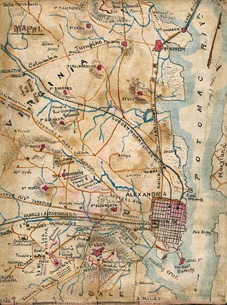 Alexandria, Virginia - Map of Alexandria showing the forts that were constructed to defend Washington during the Civil War