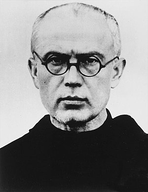 Polish Franciscan, Saint Maximilian Kolbe, at Auschwitz, volunteered to die in place of another prisoner. Fr.Maximilian Kolbe 1939.jpg