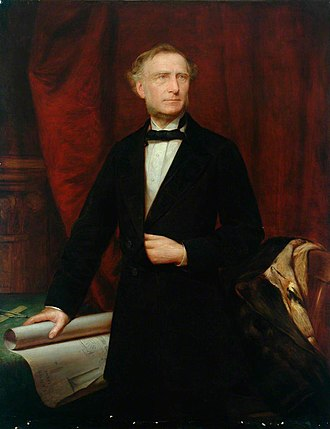 Francis Trevithick - by Unknown artist, holding a drawing of his locomotive Cornwall