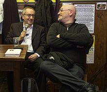Franco Grillini e Aurelio Mancuso, presidente dell'Arcigay, durante una presentazione del libro Ecce omo, 19 febbraio 2009