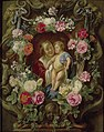 Frans Ykens and Worshop of Jacob Jordaens - The Virgin and Child in a Cartouche decorated with a Flower Garland.jpg