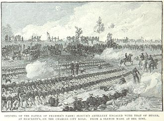 Battle of Glendale - Slocum's artillery engages Huger's