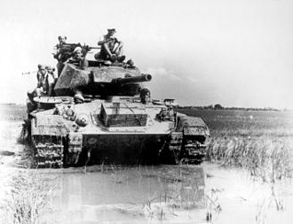 Battle of Dien Bien Phu - One of the ten French M24 Chaffee light tanks, (supplied by the USA) as seen here, deployed at the battle at Dien Bien Phu.