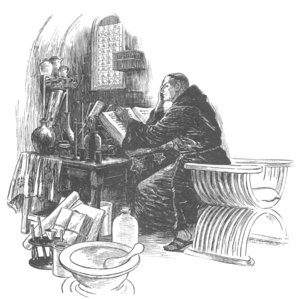 Summa Grammatica - An artist's representation of Friar Bacon in his study.